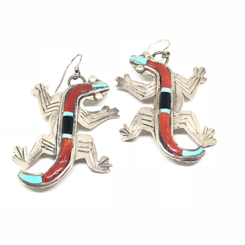 ALLENROY PAQUIN Sterling Silver IGUANA Coral Inlay Lizard Zuni Earrings