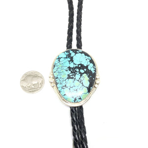 TOM LIVINGSTON Sterling Silver NEVADA Turquoise Navajo Large Bolo Tie