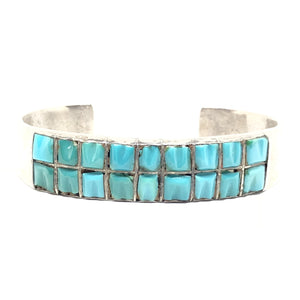 CARVED Sterling Silver Turquoise Inlay Cobblestone Row Cuff Bracelet Vintage