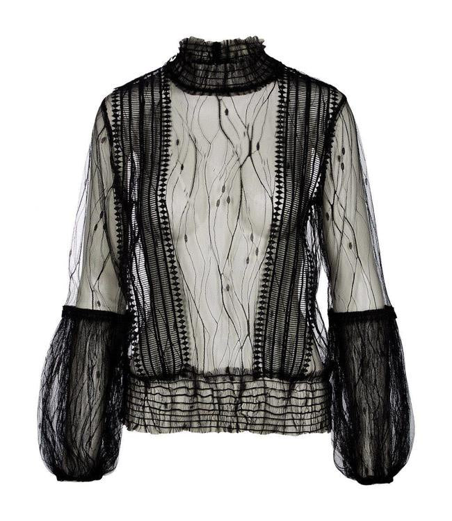 Nu Denmark Embroidered Mesh Blouse