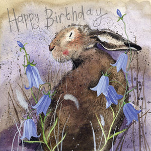 Birthday Card - Hare & Bluebells