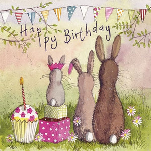 Birthday Card - Rabbit Family