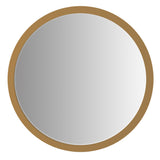 DunaWest 32 Inch Round Wooden Frame Floating Wall Beveled Mirror, Brown