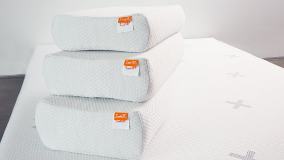 Stack of 3 SleepX pillows, Low, Medium and High lofts