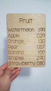 Fruit price list