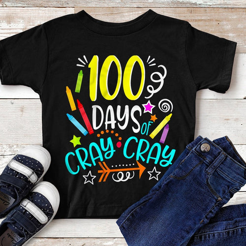 CustomCat Apparel Anvil Youth Lightweight T-Shirt 4.5 oz / Black / YXS 100 days cray cray shirt for kids