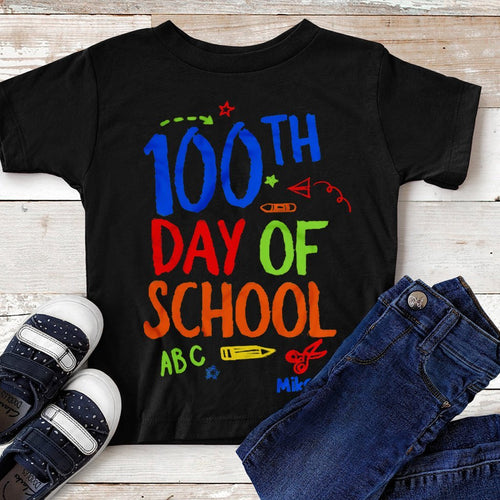 CustomCat Apparel Anvil Youth Lightweight T-Shirt 4.5 oz / Black / YXS 100th day of school shirt for kids