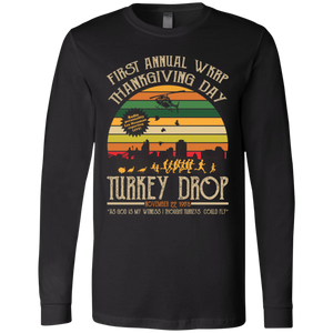 CustomCat Apparel Bella + Canvas Men's Jersey LS T-Shirt / Black / S First Annual WKRP Thanksgiving Day Turkey Drop Vintage T Shirt Funny Thanksgiving Gift