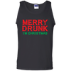 CustomCat Apparel Cotton Tank Top / Black / S Merry Drunk I'm Christmas Wine Lover Funny Drinking Sweatshirt T Shirt