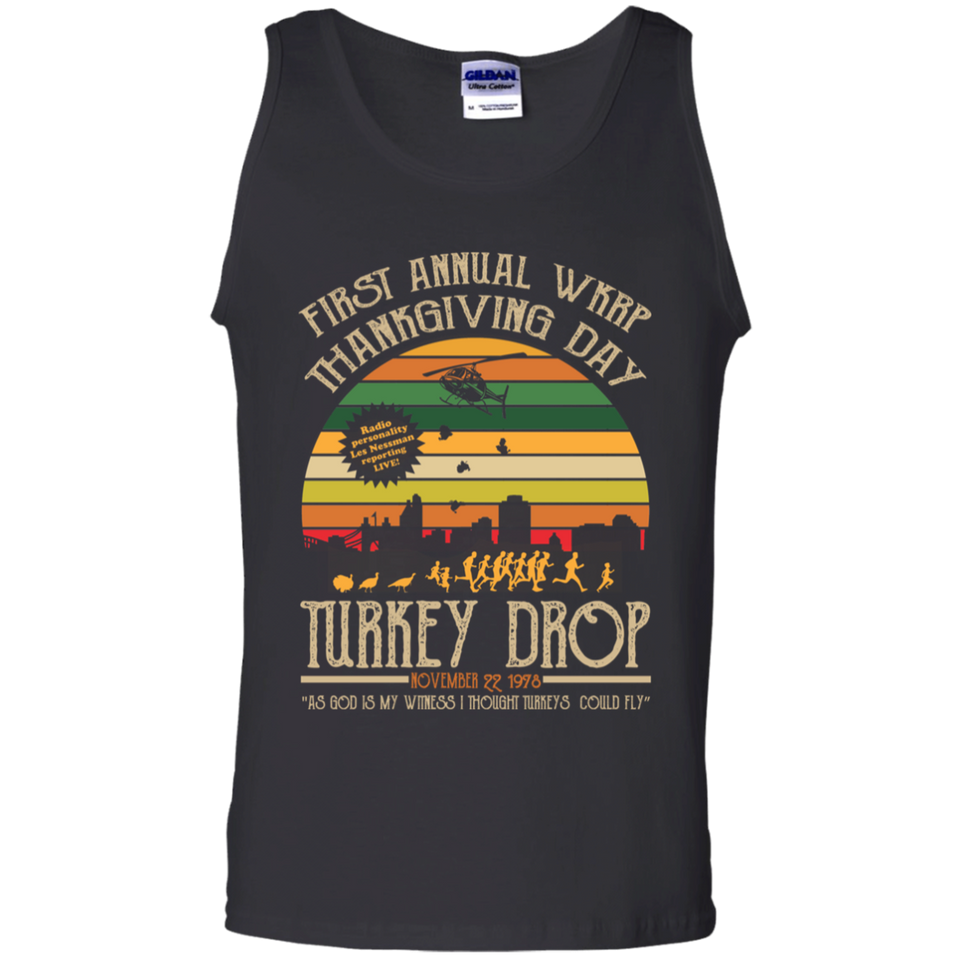 CustomCat Apparel Gildan 100% Cotton Tank Top / Black / S First Annual WKRP Thanksgiving Day Turkey Drop Vintage T Shirt Funny Thanksgiving Gift