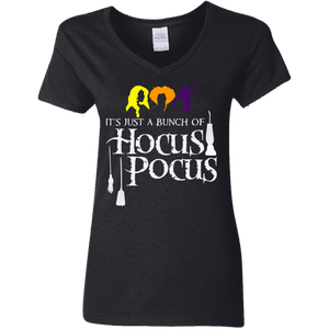 CustomCat Apparel Gildan Ladies' 5.3 oz. V-Neck T-Shirt / Black / S It's Just A Bunch of Hocus Pocus Shirt Women Sanderson Sisters Halloween Funny Graphic Tees