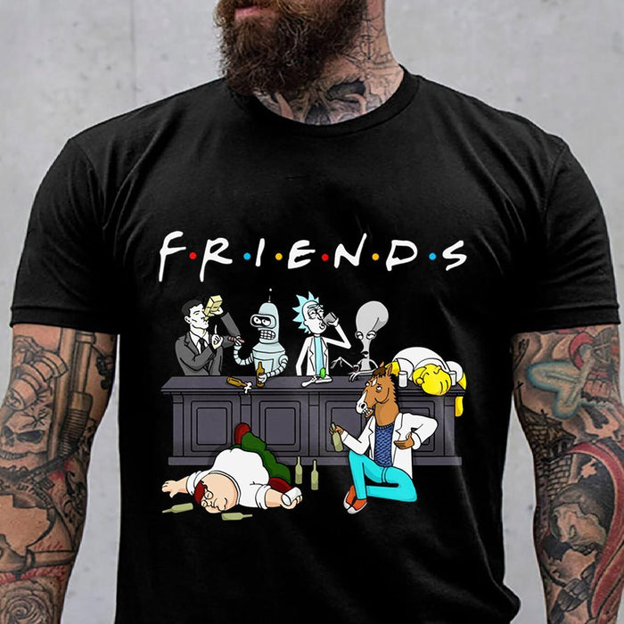 CustomCat Apparel Gildan Ultra Cotton T-Shirt / Black / S Friends Rick And Morty Funny T Shirt