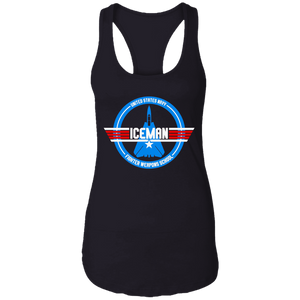CustomCat Apparel Ladies Ideal Racerback Tank / Black / X-Small Top gun 1980's military action movie vintage style iceman for women