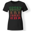 CustomCat Apparel Ladies' T-Shirt / Black / S advent calendar color christian xmas shirt for women