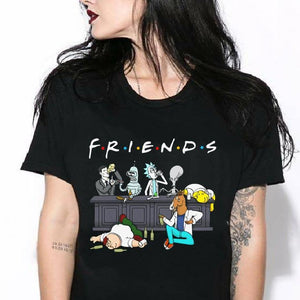 CustomCat Apparel Ladies' T-Shirt / Black / S Friends Rick And Morty Funny T Shirt for women