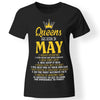 CustomCat Apparel Ladies' T-Shirt / Black / S Queens are born in may cute birthday gift women girls t-shirt