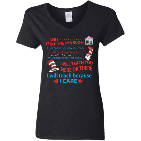 CustomCat Apparel Ladies' V-Neck T-Shirt / Black / S I will teach you in a room I will teach you now on zoom t-shirt for quarantined teachers funny