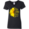 CustomCat Apparel Ladies' V-Neck T-Shirt / Black / S Never let them change me till they cover me in daisies t-shirt