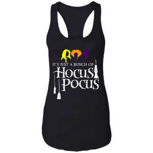 CustomCat Apparel Next Level Ladies Ideal Racerback Tank / Black / X-Small It's Just A Bunch of Hocus Pocus Shirt Women Sanderson Sisters Halloween Funny Graphic Tees