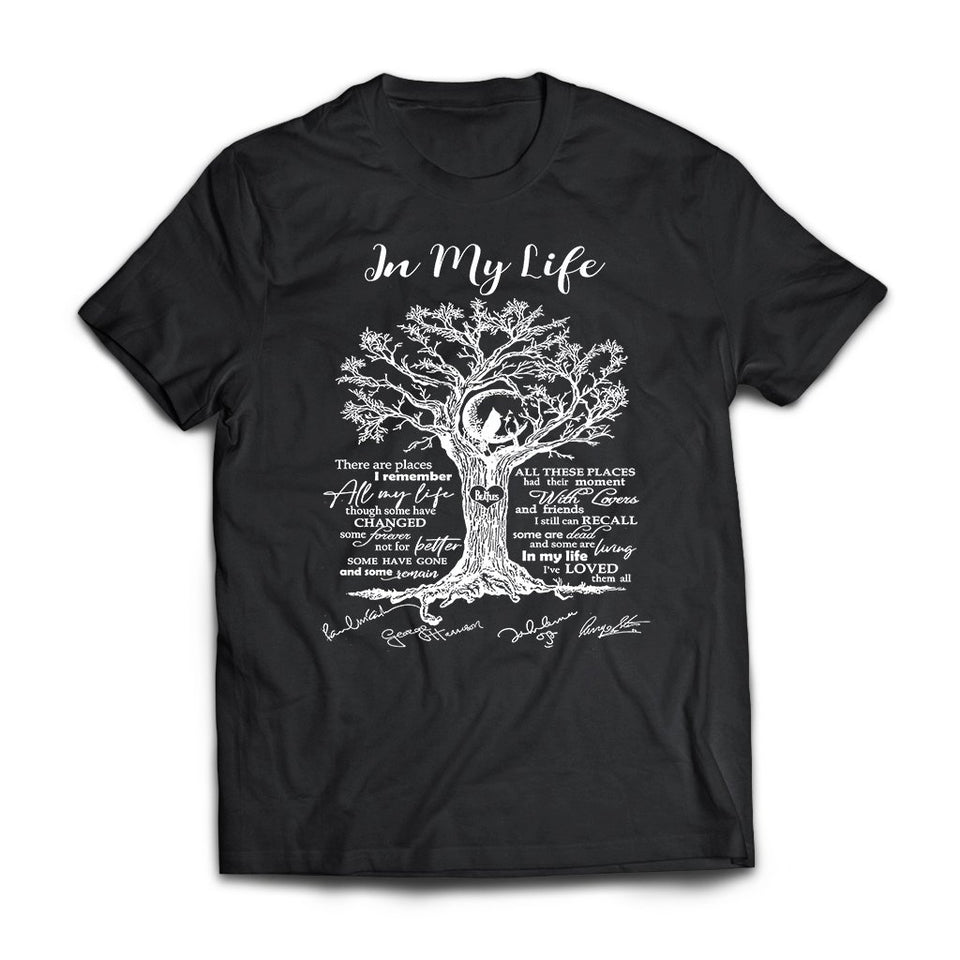 CustomCat Apparel Next Level Premium Short Sleeve T-Shirt / Black / X-Small There are places I'll remember all my life some changed in my life the Beatles lover tree poster fan black t-shirt