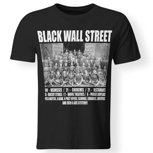 CustomCat Apparel Premium Men T-Shirt / Black / S Black wall street never forget t-shirt