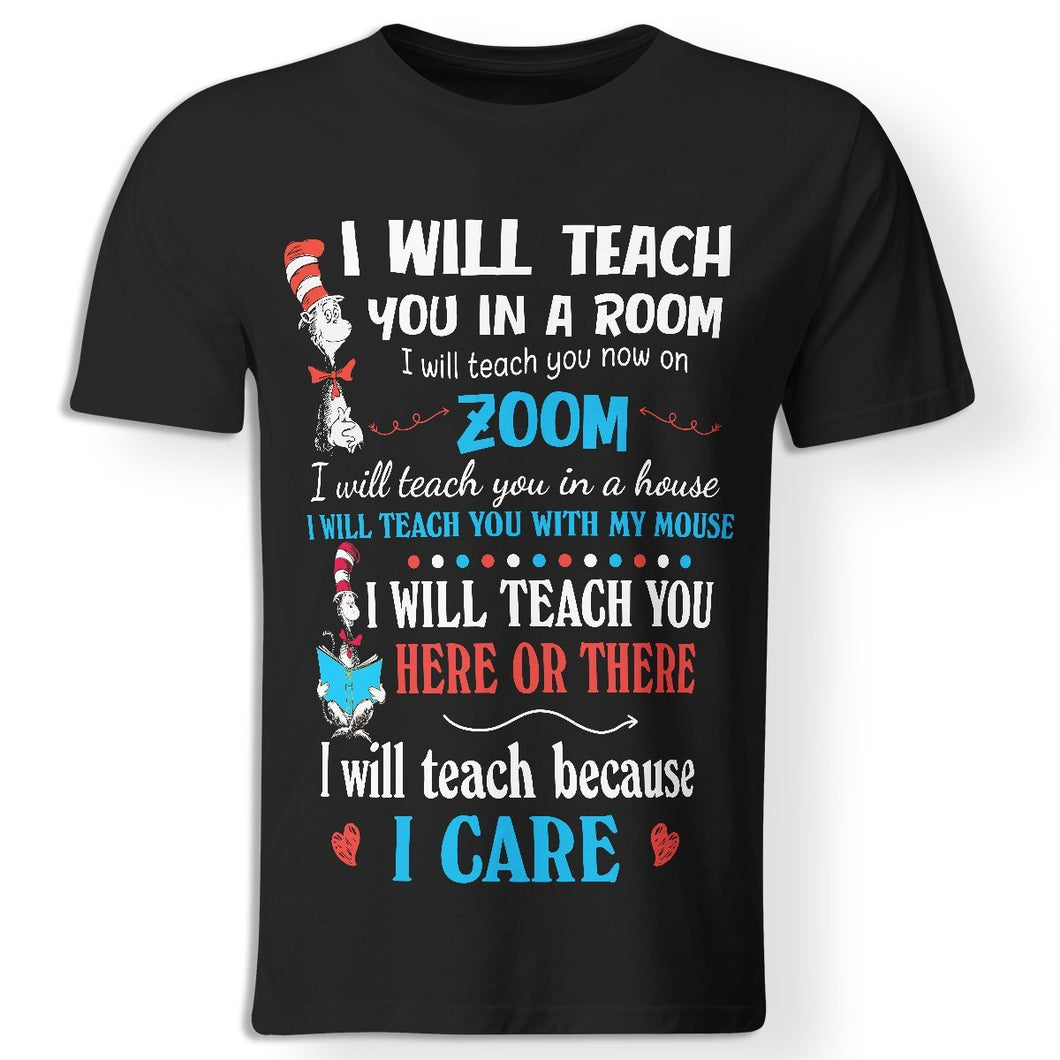 CustomCat Apparel Premium Men T-Shirt / Black / S I will teach you in a room I will teach you now on zoom funny black t-shirt for quarantined teachers