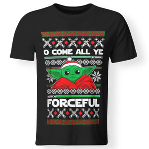 CustomCat Apparel Premium Men T-Shirt / Black / S O come all ye forceful baby yoda the mandalorian ugly christmas sweater shirt christmas party