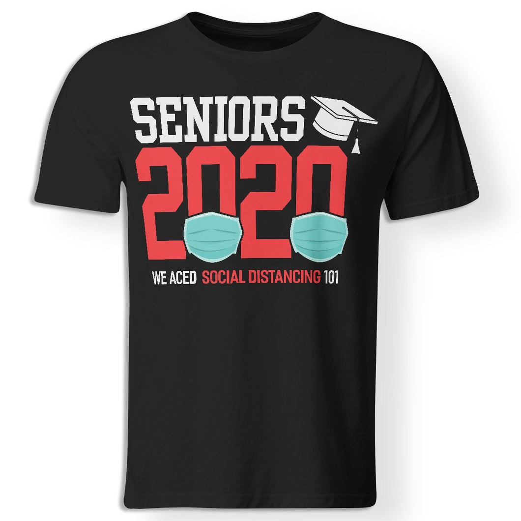 CustomCat Apparel Premium Men T-Shirt / Black / S Seniors 2020 the one where they were quarantined social distancing t-shirt