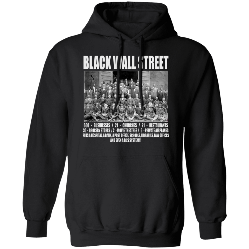 CustomCat Apparel Unisex Pullover Hoodie / Black / S Black wall street never forget t-shirt