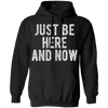 CustomCat Apparel Unisex Pullover Hoodie / Black / S Just be here and now ram dass shirt