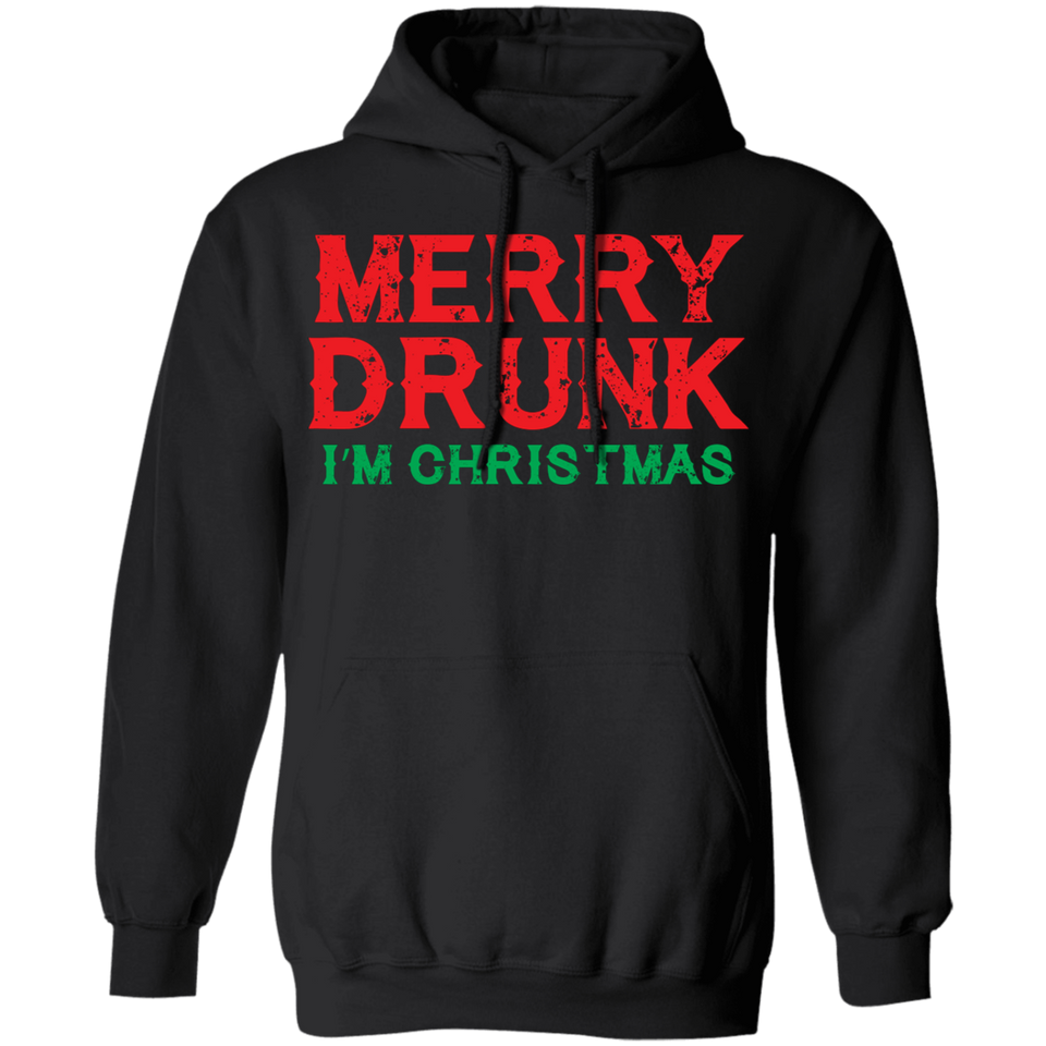 CustomCat Apparel Unisex Pullover Hoodie / Black / S Merry Drunk I'm Christmas Wine Lover Funny Drinking Sweatshirt T Shirt