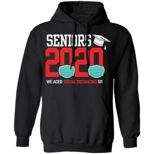 CustomCat Apparel Unisex Pullover Hoodie / Black / S Seniors 2020 the one where they were quarantined social distancing t-shirt