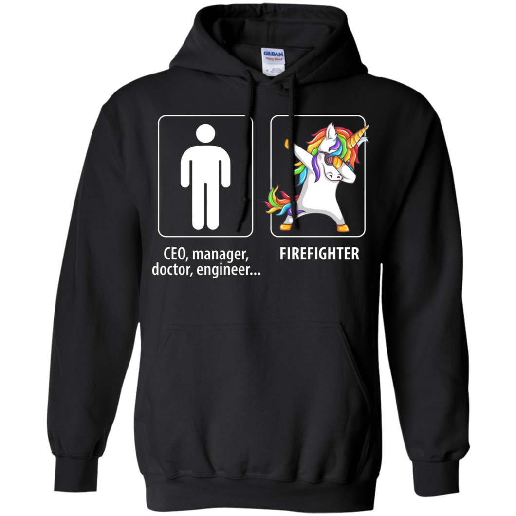 Dabbing firefighter unicorn vs CEO doctor engineer Hoodie Sweatshirts - Stephen & Kiara