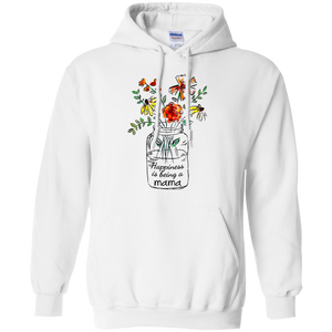 CustomCat Sweatshirts White / S Womens Happiness Is Being Mama Life Flower Art Grandma Tee Hoodie