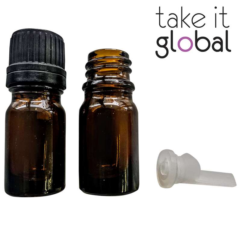 5ml Bottle Amber Glass Essential Oil stopper and screw cap