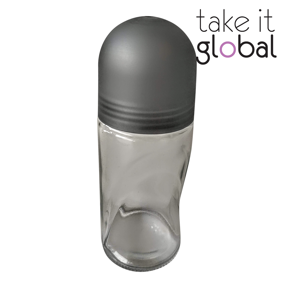 50ml Roll On / Roller Bottle - Transparent Clear Glass / Pearl Grey Cap