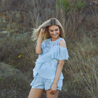 Blue Frill Playsuit