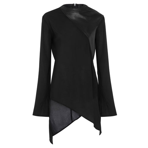 Barbara Silk  & Leather Spliced Top - Jet Black