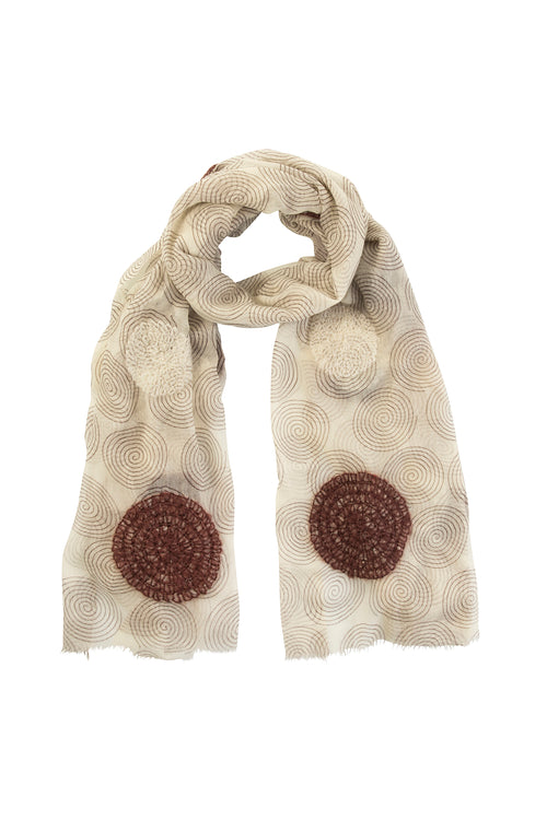 Circular motion wool knit scarf
