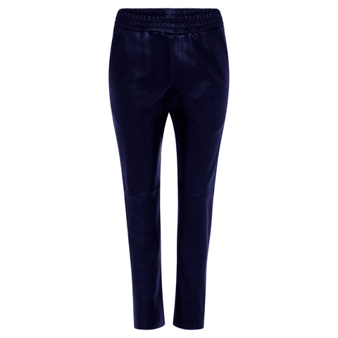 Frankie Leather Jogger Pant - French Navy