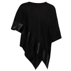 Evie Silk and Leather Top - Jet Black