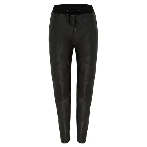 Frankie Leather Jogger Pant - Jet Black