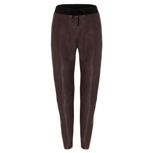 Frankie Leather Jogger Pant - Mulberry