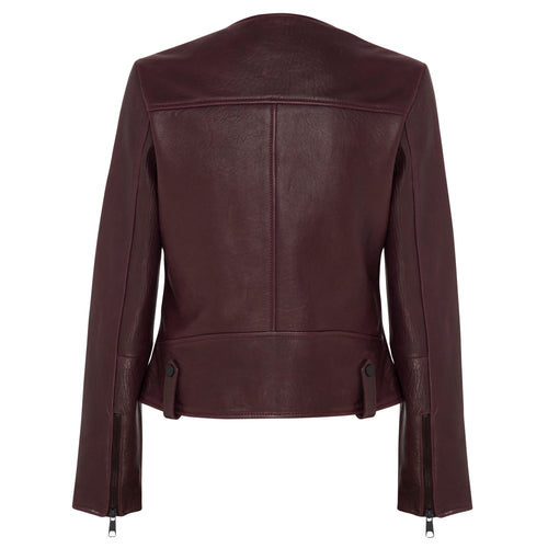 Fulton Leather Jacket - Mulberry