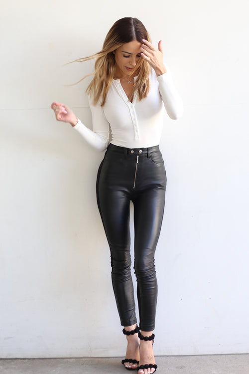 KC Leather Zip Pant - Jet Black
