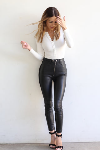 Dianne Leather Pant - French Navy