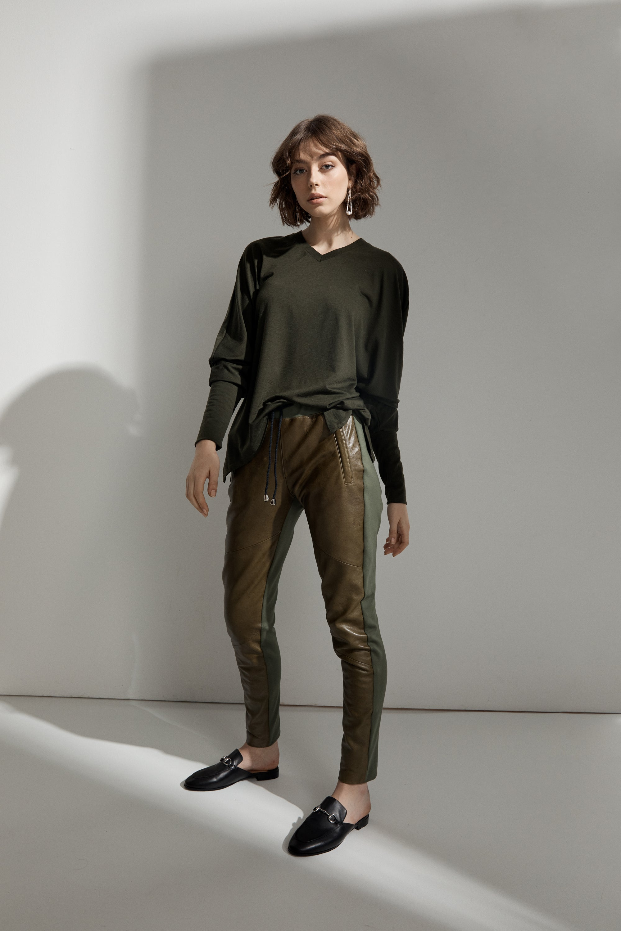 Frankie Leather Jogger Pant - Autumn Leaves