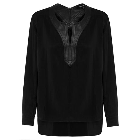 Cascading Meadow Silk Shirt - Jet Black
