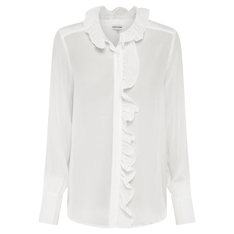 Evie Silk and Leather Top - Chalk White