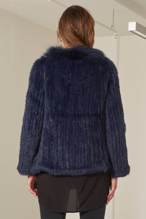 Aubree Fur Jacket - Navy